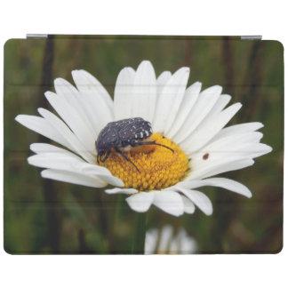couverture Blanc-repérée d'iPad de scarabée rose Protection iPad