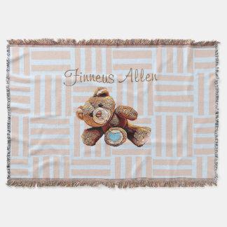 Couverture, bleu d'ours de nounours et Brown Couvre Pied De Lit