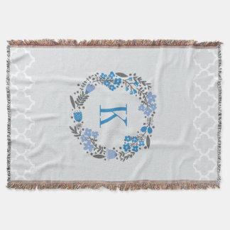 Couverture Bleu gris personnalisé de guirlande florale de