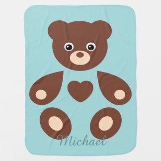 Couverture bleue de bébé de monogramme d'ours de couvertures de bébé