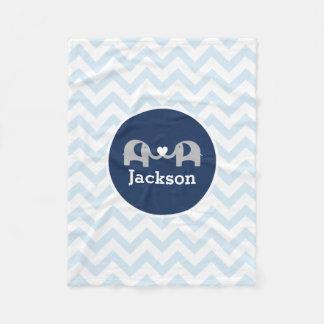 Couverture bleue personnalisée de bébé de Chevron