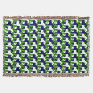 Couverture Chevaux verticaux de blanc et de bleu marine sur