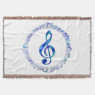 Couverture Clef triple bleue avec des notes de musique