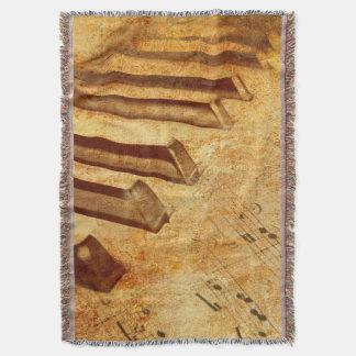 Couverture Clés grunges de piano de feuille de musique