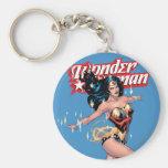 Couverture comique de femme de merveille porte-clé rond