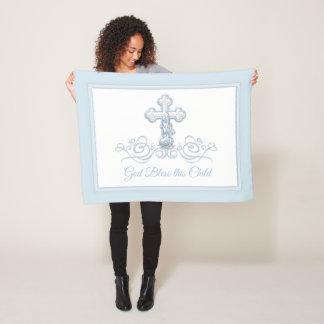 Couverture croisée bleue de baptême de bébé