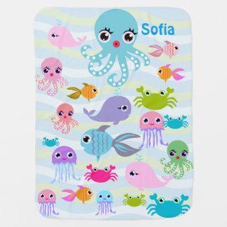 couverture de bébé de mer d'océan, poulpe, crabe,