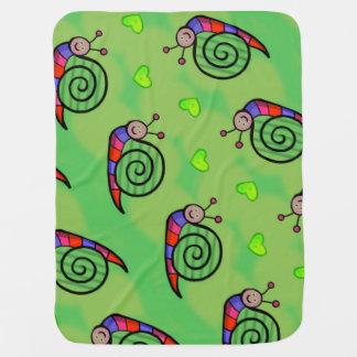 Couverture de bébé escargot sur fond vert