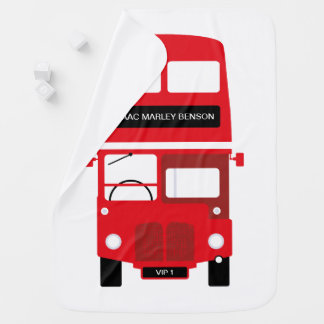 Couverture de bébé personnalisée par autobus rouge
