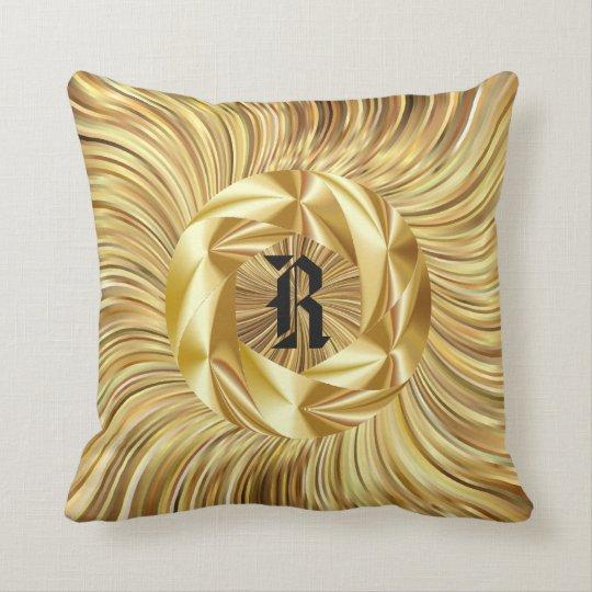 Couverture de coussin de monogramme d'or