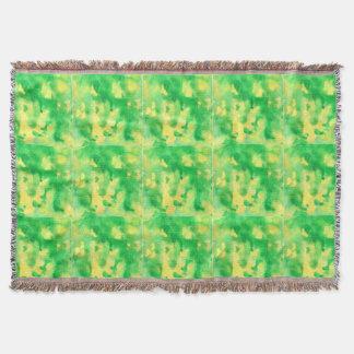 Couverture de jet d'aquarelle de vert jaune