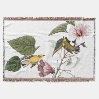 Couverture de jet de fleur de ketmie d'oiseau de