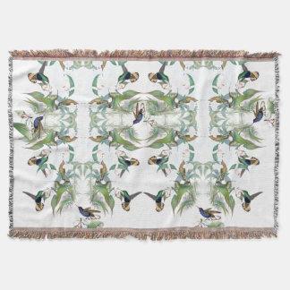 Couverture de jet de fleurs d'orchidée d'oiseaux