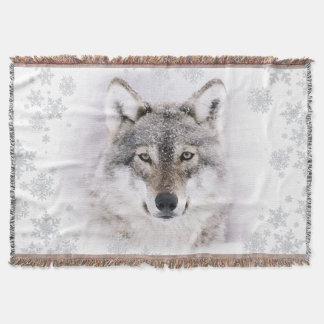 Couverture de jet de loup d'hiver