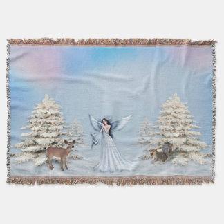Couverture de jet de scène d'ange de neige d'hiver