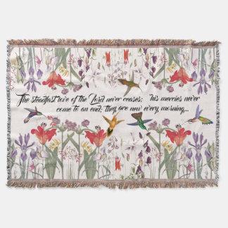 Couverture de jet d'écriture sainte de fleurs