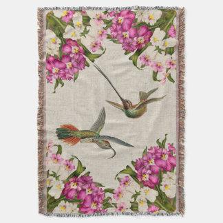 Couverture de jet d'orchidées et de colibris