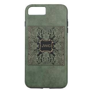 Couverture de livre en cuir usinée par vert coque iPhone 7 plus