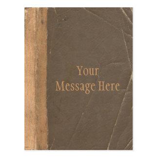Couverture de livre vintage, rétro limite de cuir carte postale