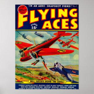 Couverture de magazine d'as de vol 4 posters