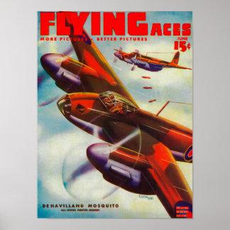 Couverture de magazine d'as de vol 5 posters