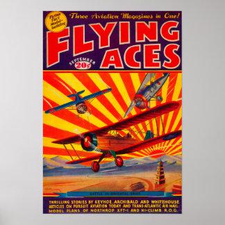 Couverture de magazine d'as de vol posters