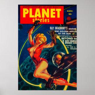 Couverture de magazine d'histoires de planète 2 posters