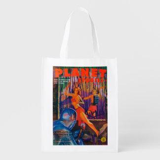 Couverture de magazine d'histoires de planète 3 sacs d'épicerie