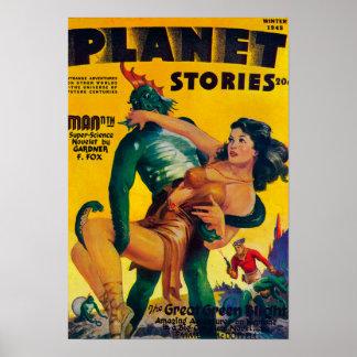 Couverture de magazine d'histoires de planète 4 posters