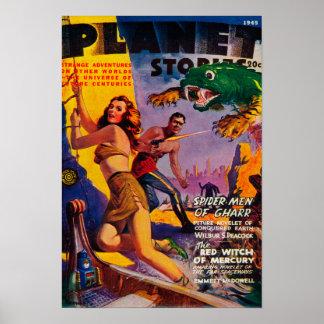 Couverture de magazine d'histoires de planète 5 posters