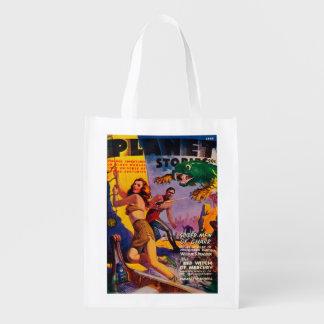 Couverture de magazine d'histoires de planète 5 cabas épicerie