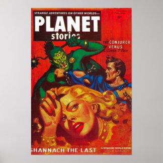 Couverture de magazine d'histoires de planète 7 posters
