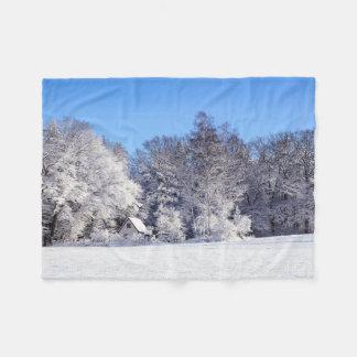 Couverture d'ouatine de scène de cottage d'hiver couverture polaire