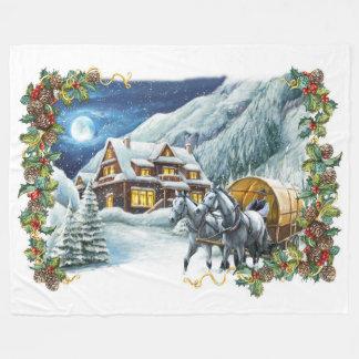 Couverture d'ouatine de scène d'hiver de Noël