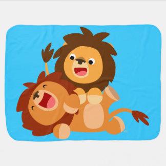Couverture espiègle mignonne de bébé de deux lions couvertures pour bébé