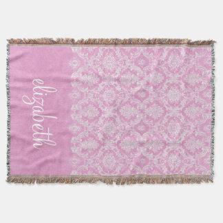 Couverture Finition sale de motif vintage de damassé de rose