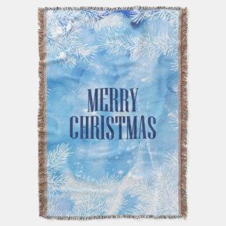 Couverture Hiver bleu de neige et de glace de Noël  