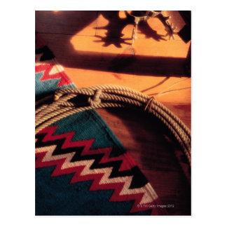 Couverture, lasso, et dents de Natif américain Cartes Postales