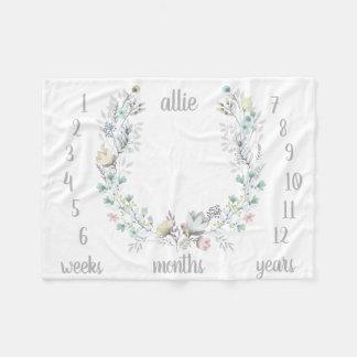Couverture mensuelle florale de bébé de photo