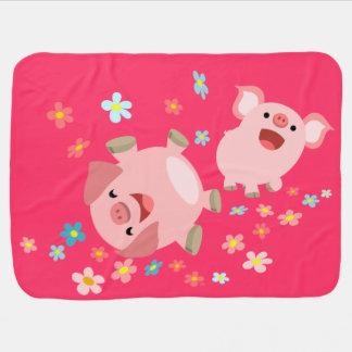 Couverture mignonne de bébé de deux porcs de bande couvertures pour bébé