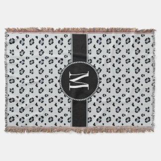 Couverture Monogramme argenté gris de neige de motif élégant