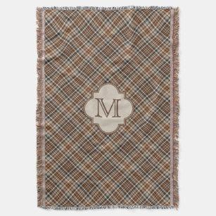 Couverture Monogramme Brown de motif de plaid d'automne