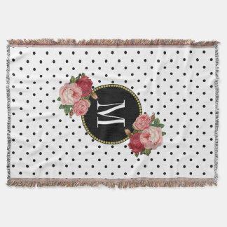 Couverture Monogramme floral vintage de points blancs noirs