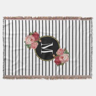 Couverture Monogramme floral vintage de rayure blanche noire