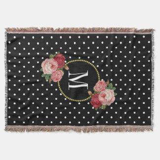 Couverture Monogramme floral vintage noir de pois de pays