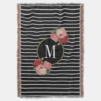 Couverture Monogramme floral vintage rayé de Boho de noir de