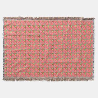 Couverture Motif floral rose avec le basketweave jaune