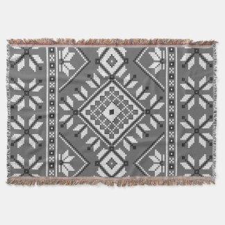 Couverture Motif géométrique aztèque de sud-ouest gris-foncé