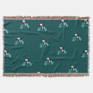 Couverture Motif tropical de paradis d'oiseaux turquoises de