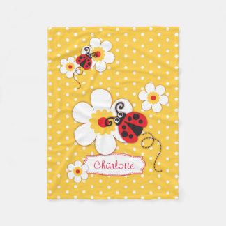 Couverture nommée jaune graphique de fleurs de